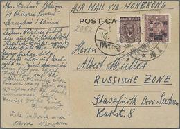 1946, 200 $ U. 500 $ A. 3 Auf LP-Bedarfskarte Von Shanghai über London Nach Sachsen - China