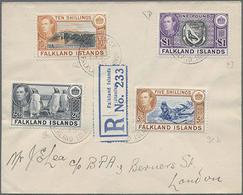 1945, 4 Verschiedene Werte Auf R-Sammler-Brief Von Port Stanley Nach London, Mi. 265.- - Falkland Islands