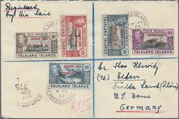 1950,2,4,6,9 P U. 1 Sh. Freimarken Landesmotive Mit Aufdruck Graham Land... Auf R-LP-Brief Nach Deutschland - Falklandeilanden