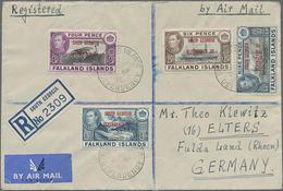 1950,4,6,9 P U. 1 Sh. Freimarken Landesmotive Mit Aufdruck South Georgia... Auf R-LP-Brief Nach Deutschland - Falklandeilanden