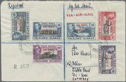 1950,2,3,4,6,9 P U. 1 Sh. Freimarken Landesmotive Mit Aufdruck South Orkneys... Auf R-LP-Brief Nach Deutschland - Falklandeilanden