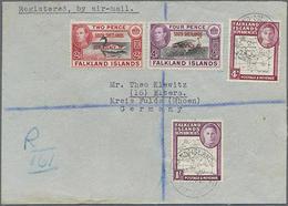 1951, 2 U. 4 P. Freimarken Mit Aufdruck South Shetlands... In MiF Mit Allg. Ausgabe 4 P U. 1 Sh. Auf LP-Brief Nach Deuts - Falkland Islands
