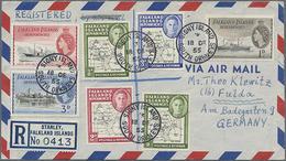 1955, 7 Werte Auf R-LP-Brief Nach Deutschland - Falklandeilanden