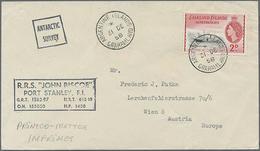 1958-60, 4 Verschiedene Schiffpost-Belgege Als Drucksache Nach Europa Gelaufen. - Falklandeilanden
