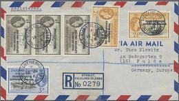 1956, Antarktisexpedition 1955 Mit Aufdruck Kompl.3x Auf R-LP-Brief Nach Deutschland - Falkland Islands