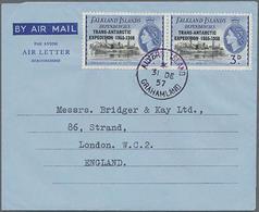 1957/58, 2x 3 P U. 6 P Mit Aufdruck Antarktis-Expedition Auf 2 Aerogrammen Von Graham-Land Nach London - Falkland Islands