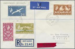 1966, 4 Verschiedene Freimarken Fauna Auf Echt Gelaufenem R-Eil-LP-Brief Von South Georgia Nach Fulda - Falklandeilanden