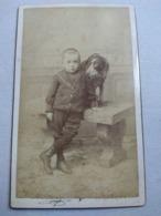 CHIEN - Photographie Ancienne CDV - Petit Garçon Avec Son Chien - Photo Subercaze , Pau - TBE - Ancianas (antes De 1900)