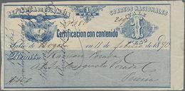 1890/92, 1 Peso Und 20 C. , 2 Verschiedene Wertbriefversicherungsmarken, 2 Bedarfstücke - Colombia