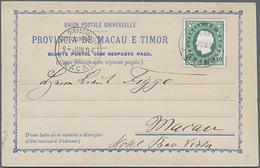 1892, 10 Reis Grün Aushilfsausgabe-Doppelkarte Mit Aufgeklebten Freimarken, Frageteil Innerhalb Macaos Gelaufen Mit Anhä - Macau