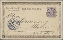 1904, 3 C. Lila King Eduard Auf Pracht-Ansichtskarte Von Penang Nach Altona - Straits Settlements