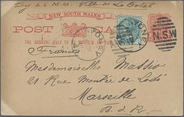 """1901, 1 P. Wappen Mit ZuF Mit Ansicht Dampfschiff"""", Bedarfskarte Von Sydney Nach Marseile"""" - 1850-1906 New South Wales"""