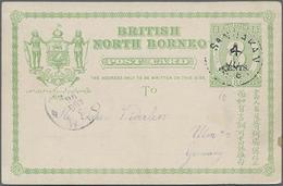 1896, 8 C. Ziffer Hellgrün Von Sandakan Nach Ulm, Ohne Text - North Borneo (...-1963)