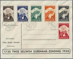 1935, 1-10 Ct. 200 Jahre Herrnhuter Gemeinde Auf Illustr. FDC - Surinam ... - 1975