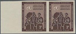 1953, 3 C. Flüchtlingsschutz Im Waager. Ungezähnten Rand-Paar, Gummiseitig übl. Roter Security-Fingerabdruck - Stamps