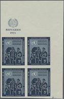 1953, 5 C. Flüchtlingsschutz Im Ungezähnten Re.ob. Eckrand-4er-Block Mit UNO-Emblem Im Oberrand, Gummiseitig übl. Roter  - Stamps