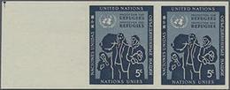 1953, 5 C. Flüchtlingsschutz Im Waager. Ungezähnten Rand-Paar, Gummiseitig übl. Roter Security-Fingerabdruck - Stamps
