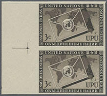 1953, 3 C. UPU Im Senkr. Ungezähnten Seitenrand-Paar, Gummiseitig übl. Roter Security-Fingerabdruck - Stamps
