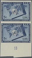 1953, 5 C. UPU Im Senkr. Ungezähnten Unterrand-Paar Mit Platten-Nr.1B, Gummiseitig übl. Roter Security-Fingerabdruck - Stamps