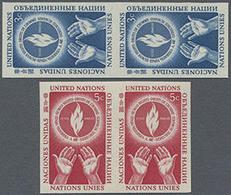 1953, 3 U.5 C. Tag Der Menschenrechte In 2 Postfrischen Ungezähnten Paaren, Gummiseitig übl. Roter Security-Fingerabdruc - Stamps