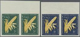 1954, 3 U.8 C. FAO In 2 Postfrischen Ungezähnten Oberrand-Paaren, Gummiseitig übl. Roter Security-Fingerabdruck - Stamps