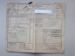 BRUCHSAL: Lettre De Voiture 1908 Transport International Chemin De Fer - Fabrique De Lampe Verrerie Eclairage DIERGARDT - Verkehr & Transport