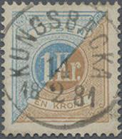 1872, 1 Riksdaler Braun/blau Gez. 14, Zentr. Gest. Kab.stück, Mi. 100.- - Svezia