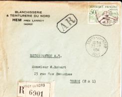 Enveloppe. Blanchisserie & Teinturerie Du Nord à Hem à M. W. ( Walter Louis François, Huissier ) Robert à Dreux . 1954. - Frankreich