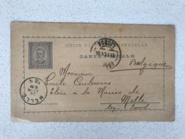 PORTUGAL Carte Postale 24/02/1894 LISBOA -> MELLE ( Belgique) - Lettres & Documents