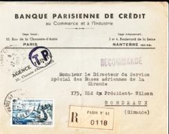 Enveloppe. Banque Parisienne De Crédit Au Commerce Et à L'Industrie. Siège Social Paris, Administratif Nanterre. 1958. - Frankreich