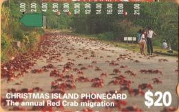 Christmas Island - Telstra, Anritsu, The Annual Red Crab Migration, 20 $, 22,500ex, 1/94, Used - Christmas Island