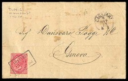 "TUNISIA. 1873. (Oct 8) Tunis To Genova. E.L. Bearing Italy 40c Deep Rose (Sc.31) Tied By Box ""Piroscafi/Postali/Italiani - Tunisia (1956-...)"