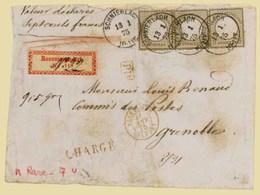 "GERMANY. 1875. (13 Jan) Schnierlach To Grenoble/France. Registered ""Valeur Declare"" (700 French Francs) Envelope Bearing - Deutschland"