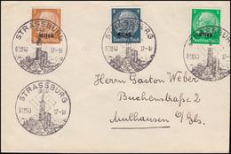 Elsaß 1-3 Aufdruck 3+4+5 Pf. Brief SSt STRASSBURG 2.2.1940 Nach Mühlhausen/Els - Besetzungen 1938-45