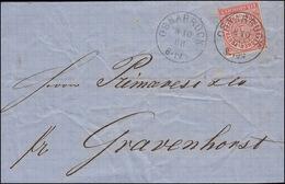 Norddeutscher Bund 4 Ziffer 1 Groschen EF Bf. OSNABRÜCK 8.10.68 Nach Gravenhorst - Norddeutscher Postbezirk