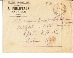 Enveloppe. Sellerie Bourrellerie A. Philipeaux Fauville à Bernard Philipeaux Motocycliste à L'Etat Major 272ème R. A. C. - Frankreich