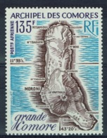 French Comoros, Map Of Grande Comore Island, 1973, MNH VF airmail - Unused Stamps