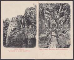 """""""Bastei"""", """"Schwedenlöcher"""", Sächs. Schweiz, 2 Karten, Um 1910 - Bastei (sächs. Schweiz)"""