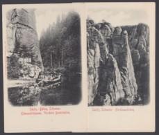 """""""Ferdinandstein"""", """"Edmundsklamm"""", Sächs. Schweiz, 2 Karten, Ca. 1910 - Deutschland"""