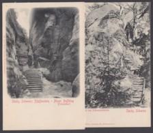 """""""Schrammstein"""", """"Pfaffenstein"""", Sächs. Schweiz, 2 Karten, Ca. 1910 - Deutschland"""