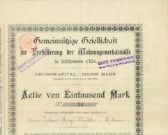 1933 - 1934 : Société D'Assainissement De La Ville De Mulhouse (Mülhausen), Actie Von Eintausend Mrk, Action, 4 Scans - Shareholdings