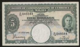Malaya 5 Dollars 1941 Pick 12 VF - Malaysia
