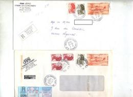 2 Lettre Recommandée Nantes Sur Hydravion Gandon - Marcophilie (Lettres)