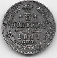 Russie - 5 Kopeks 1911 - Argent - Rusia