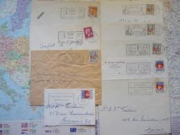 Lot De 9 Flammes D'oblitération Mécanique Différentes De La Somme Sur Lettres Entières 1965-1969 - Marcophilie (Lettres)
