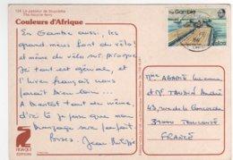 """Beau Timbre """" Train De Bateau En Rivière """" Sur Cp , Carte , Postcard Du 10/02/1986 - Gambie (1965-...)"""