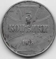 Russie - 3 Kopeks 1916 - Argent - Zone D'Occupation Allemande - Russie