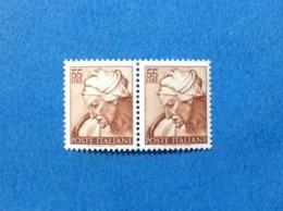 1961 ITALIA MICHELANGIOLESCA 55 LIRE COPPIA FRANCOBOLLI NUOVI STAMPS NEW MNH** - 1961-70: Mint/hinged