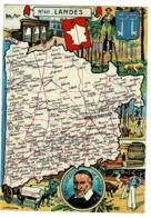 Carte Illustrée J P Pinchon - Blondel Rougery - Landes, Blason, Texte Historique Au Verso - Pas Circulé, Brillant - Landkarten