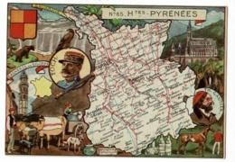Carte Illustrée J P Pinchon - Blondel Rougery - Hautes Pyrénéens, Blason, Texte Historique Au Verso - Pas Circulé, Mat - Landkarten